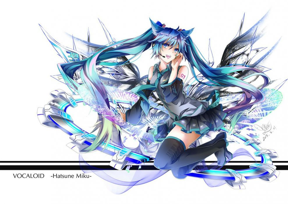animal ears blue eyes blue hair boots catgirl hatsune miku long hair microphone thighhighs tie twintails tyouya vocaloid wallpaper