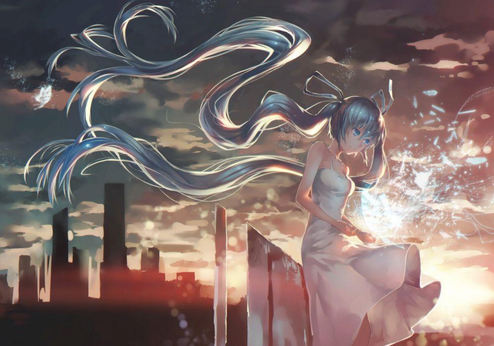 avamone dress hatsune miku long hair twintails vocaloid wallpaper