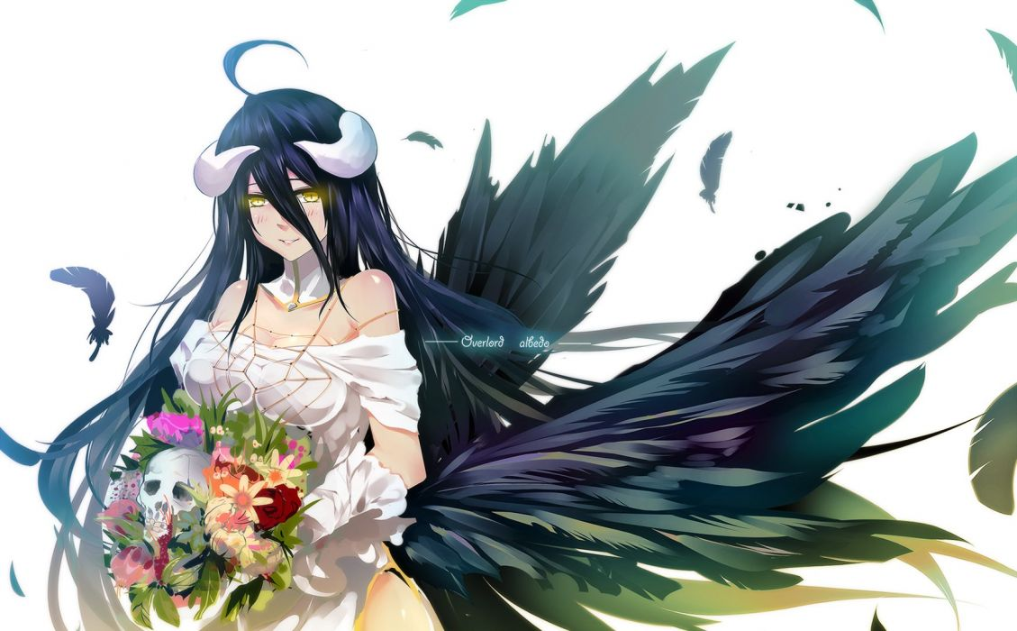 albedo bba biao breasts cleavage collar elbow gloves feathers flowers horns overlord skull wings yellow eyes wallpaper