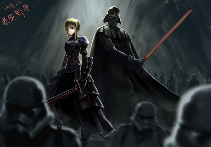 crossover dark darth vader fate stay night gray polychromatic saber signed star wars wallpaper
