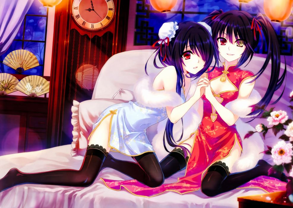 bed bicolored eyes black hair chinese clothes chinese dress date a live fan flowers night tagme (artist) thighhighs tokisaki kurumi twintails wallpaper