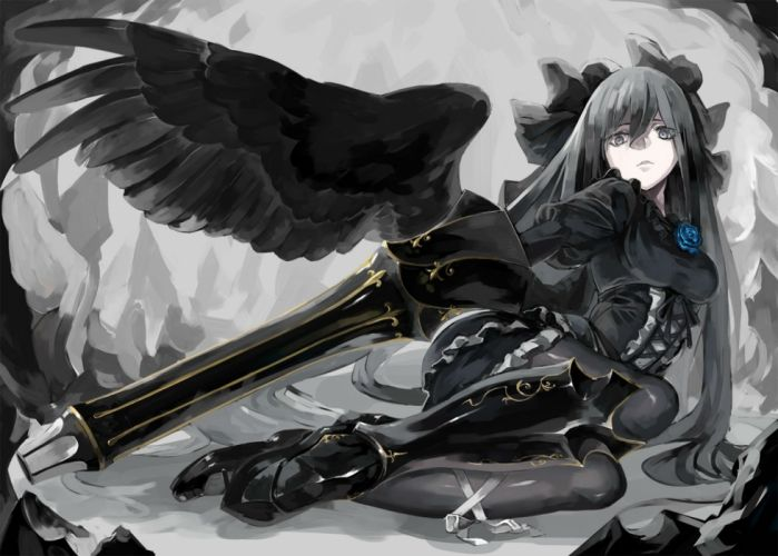 armor azuki-taste corset flowers goth-loli gray long hair polychromatic reiuji utsuho rose touhou weapon wings wallpaper