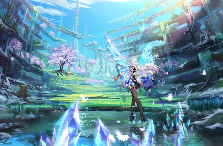 butterfly cherry blossoms grass long hair original scenic sleeping-pig tree water waterfall white hair wings wallpaper