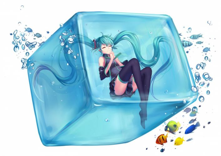 animal bubbles fish hatsune miku skirt thighhighs tiwing twintails vocaloid water white wallpaper
