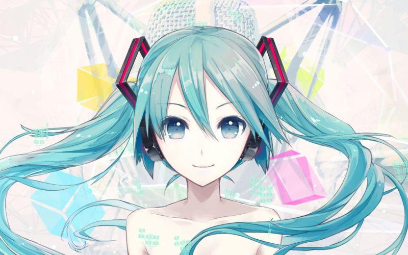 hatsune miku headphones ikushima long hair twintails vocaloid wallpaper