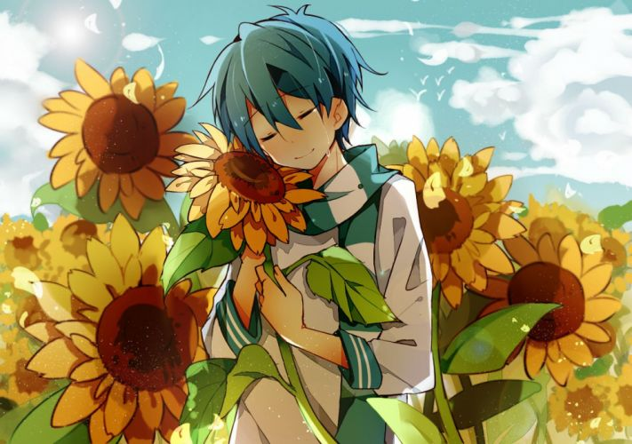 male blue hair flowers fuuko (2679566944) kaito male scarf sunflower tears vocaloid wallpaper