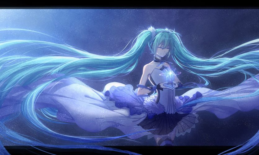 7th dragon 2020 arsh hatsune miku long hair skirt thighhighs twintails vocaloid wristwear wallpaper