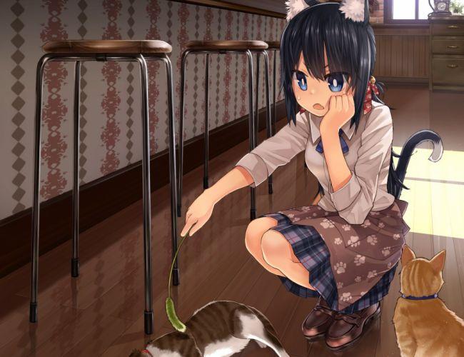 animal animal ears black hair blue eyes cat catgirl cropped namamizu000 original short hair tail wallpaper
