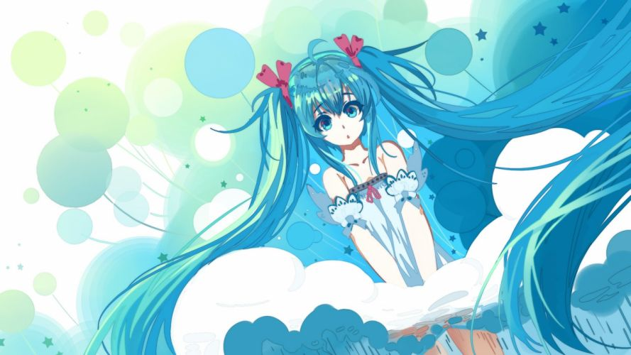 haraguroi you hatsune miku long hair ribbons twintails vocaloid wallpaper