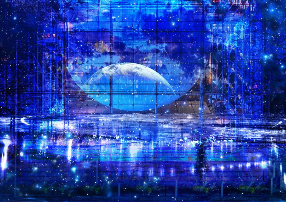 blue nobody original planet scenic stars tree water zonomaru wallpaper