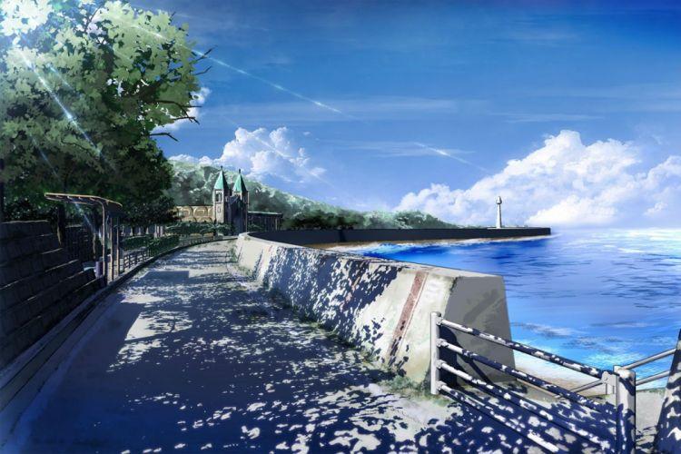 clouds nobody original scenic shade sky tree waisshu (sougyokyuu) water wallpaper