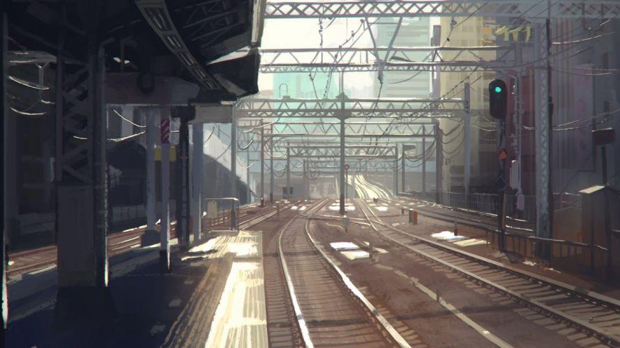 city nenenoa nobody scenic train wallpaper