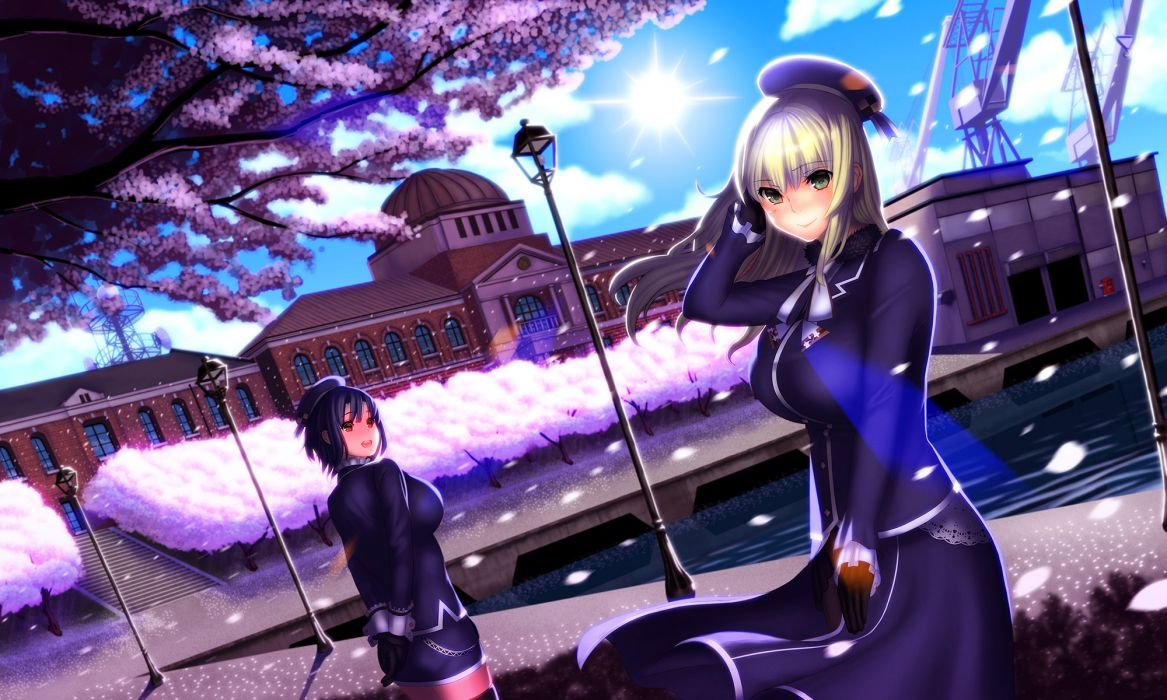 girls atago (kancolle) building cherry blossoms hat misumi (niku-kyu) pantyhose petals takao (kancolle) thighhighs tree uniform water wallpaper