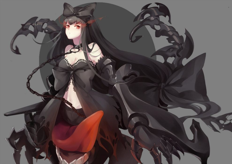 black hair bow breasts chain cleavage collar kantai collection long hair red eyes roong seaplane tender hime wallpaper