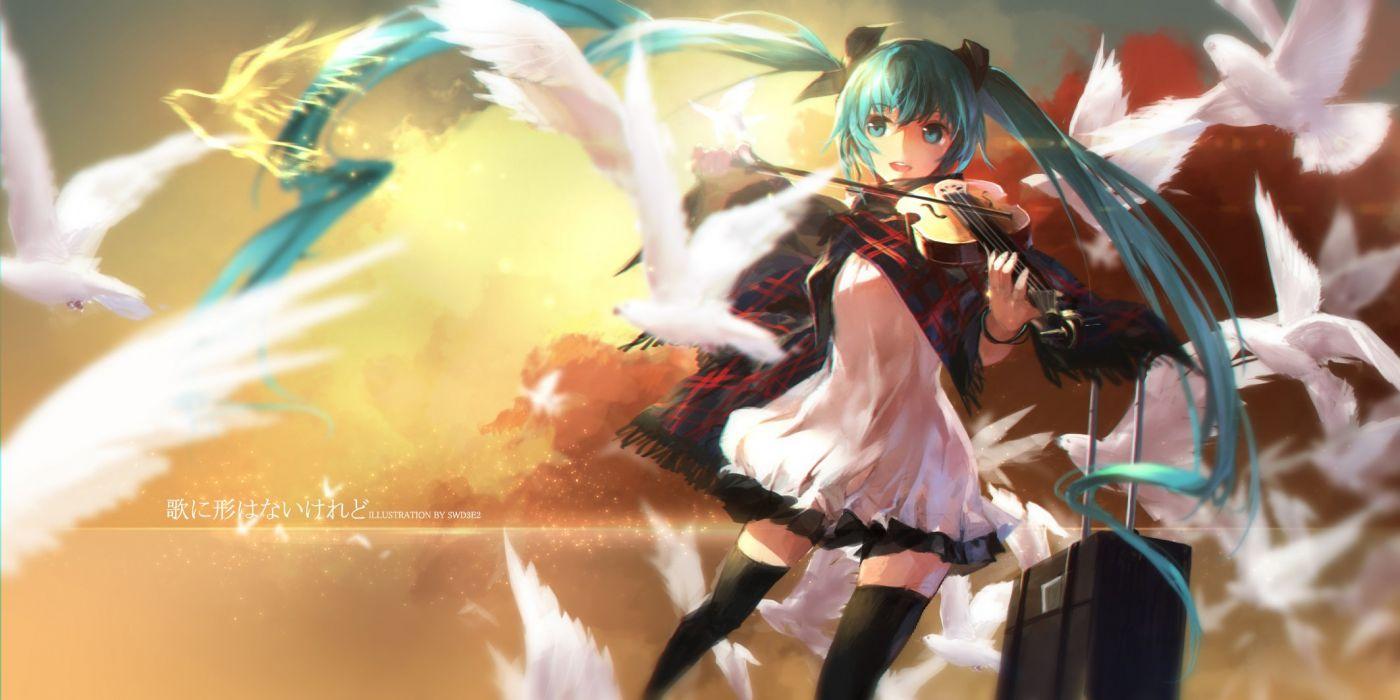 animal bird blue eyes blue hair hatsune miku instrument long hair swd3e2 twintails violin vocaloid wallpaper