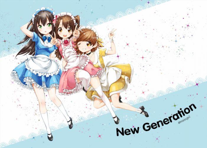 honda mio idolmaster idolmaster cinderella girls maekawa miku maid miringx2 shibuya rin thighhighs wink wallpaper