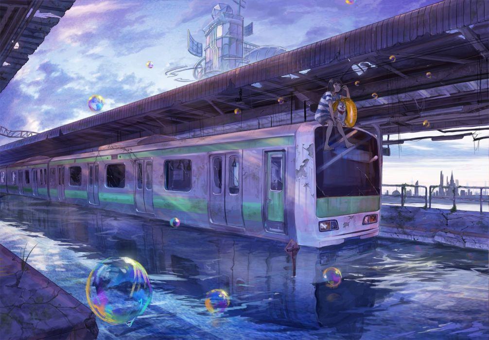 animal bubbles clouds dog lalil-le original scenic sky swim ring train water wallpaper