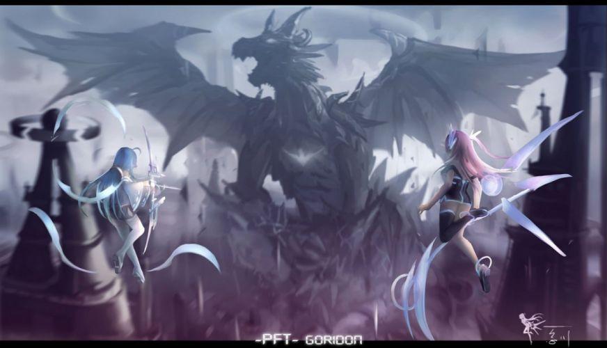girls bow (weapon) dragon dress hc jpeg artifacts long hair pixiv fantasia thighhighs weapon wallpaper