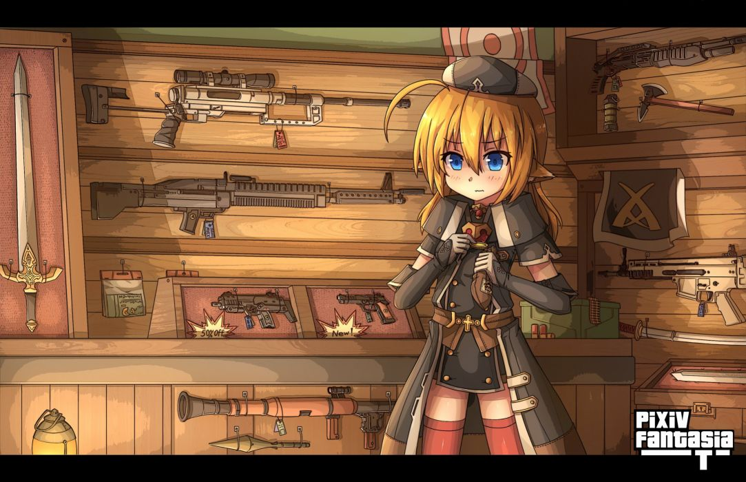 blonde hair blue eyes elbow gloves gun hat kaiyi katana pixiv fantasia pointed ears sword thighhighs weapon wallpaper