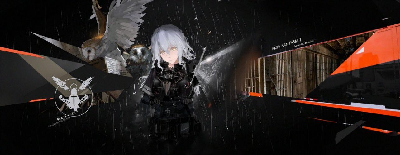 animal bird dark gray hair mivit owl pixiv fantasia weapon yellow eyes wallpaper