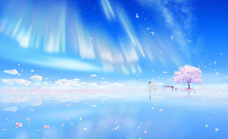 Shigatsu wa Kimi no Uso Arima Kousei Miyazono Kaori Pink Flower Bare Knees wallpaper