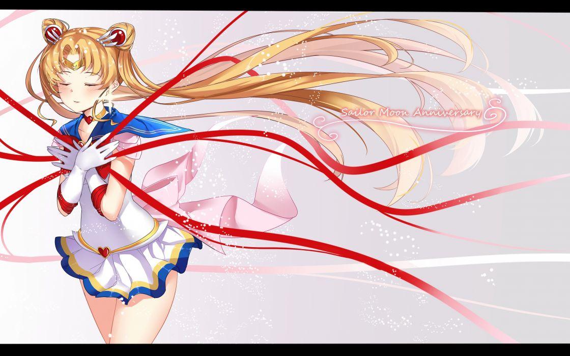 Bishoujo Senshi Sailor Moon Tsukino Usagi Sailor Moon (Character) Hand on Chest Flowing Hair wallpaper