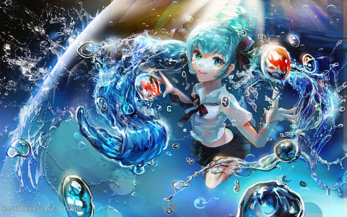 Vocaloid Hatsune Miku Water Bubbles Mangaka Name Striped Neckwear wallpaper