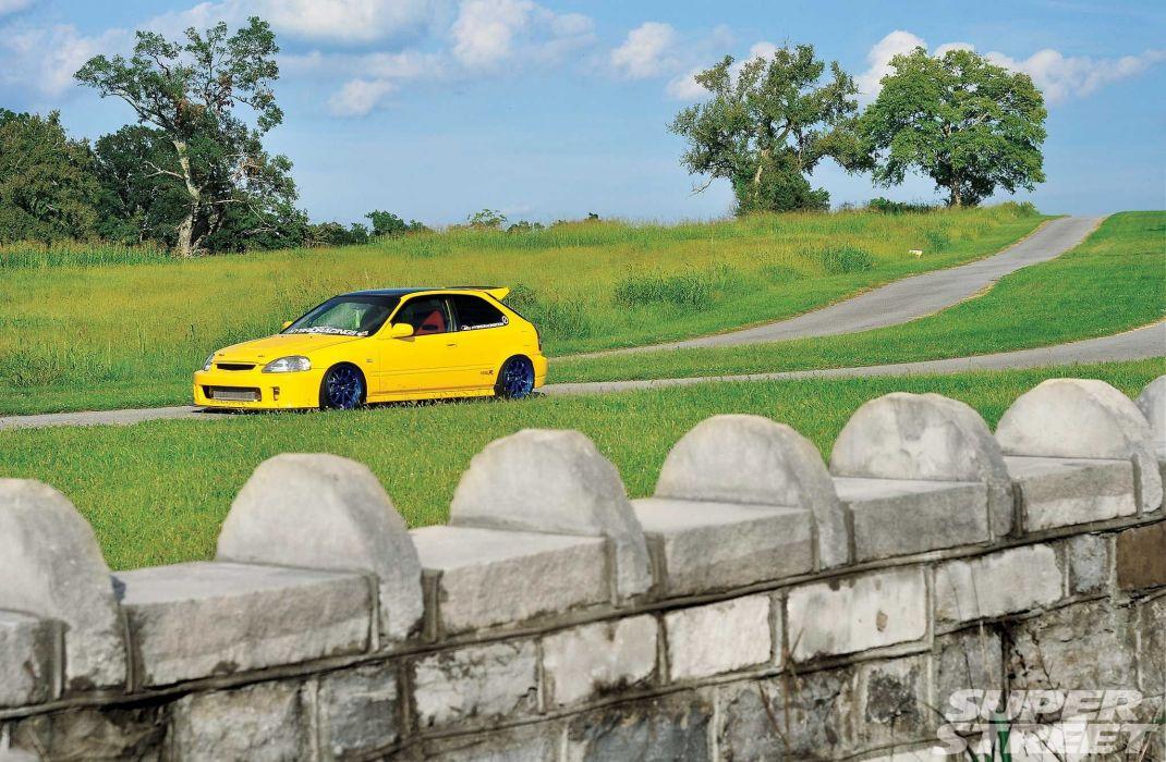 2000 Honda Civic Type-R cars yellow modified wallpaper