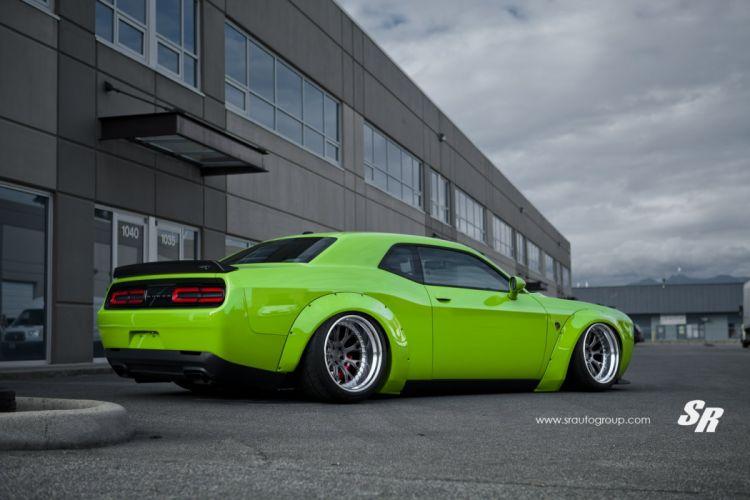 dodge challenger bodykit cars modified green wallpaper