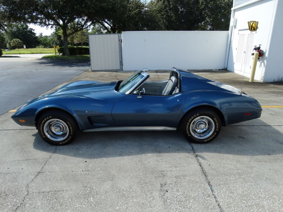 1975 Chevrolet classic Corvette muscle old original ray sting USA blue wallpaper