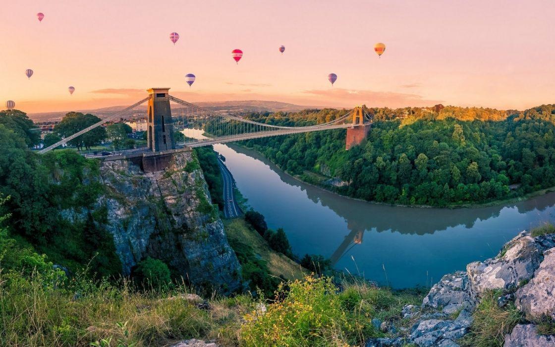 Nature Bridge balls mountain sky river balloon river wallpaper