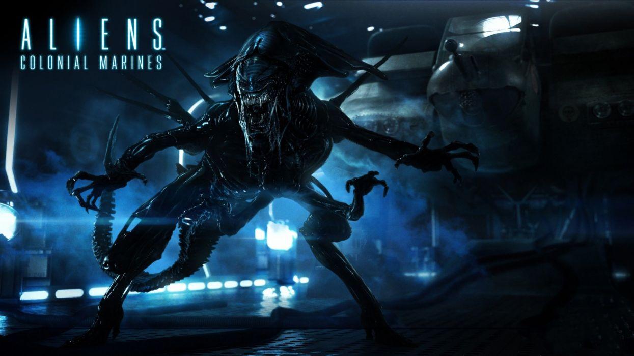 ALIEN horror sci-fi futuristic dark aliens creature survival monster poster wallpaper