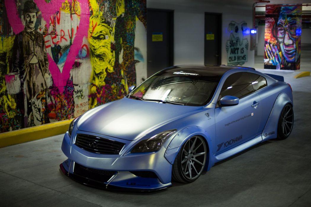 Infiniti G37 cars coupe blue matt Liberty Walk modified wallpaper