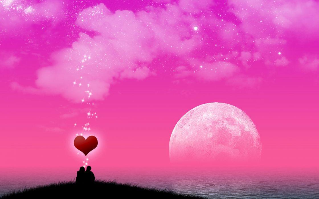cielo rosa amor luna corazon wallpaper