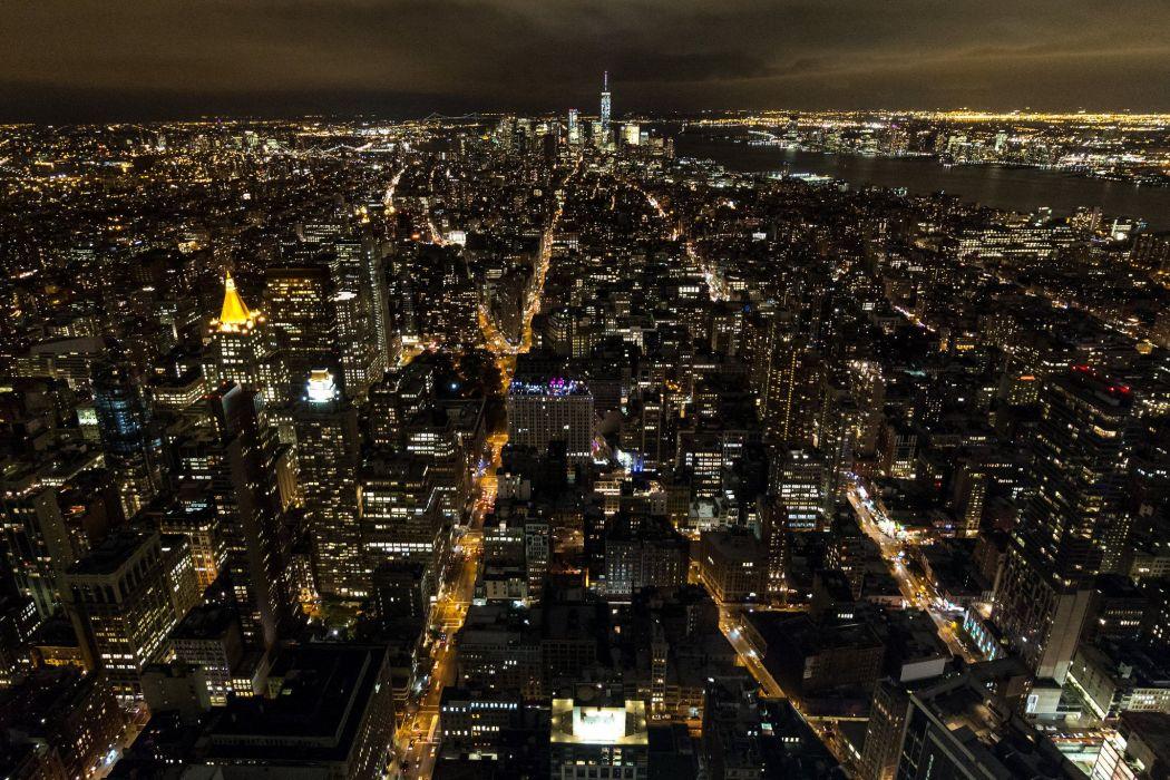 brooklyn bridge night city cities urban new york usa america travelling lights river hudson towers nyc landscape wallpaper