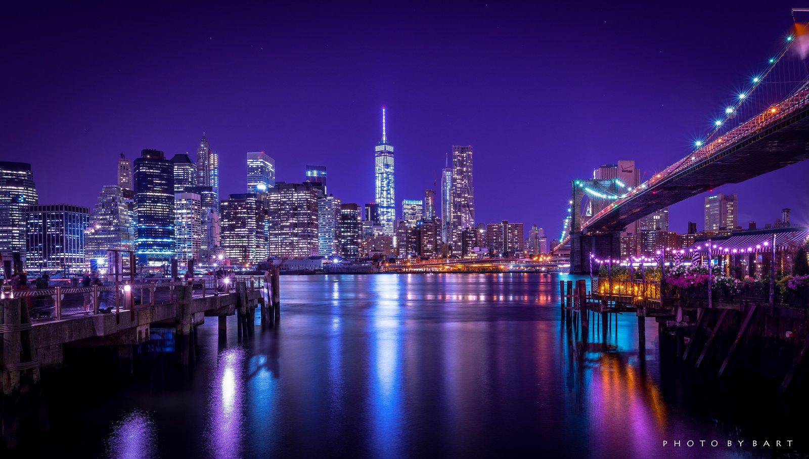 Brooklyn Bridge Night City Cities Urban New York Usa America