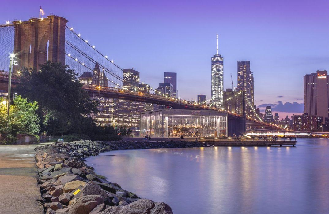 brooklyn bridge night city cities urban new york usa america travelling lights river hudson towers nyc