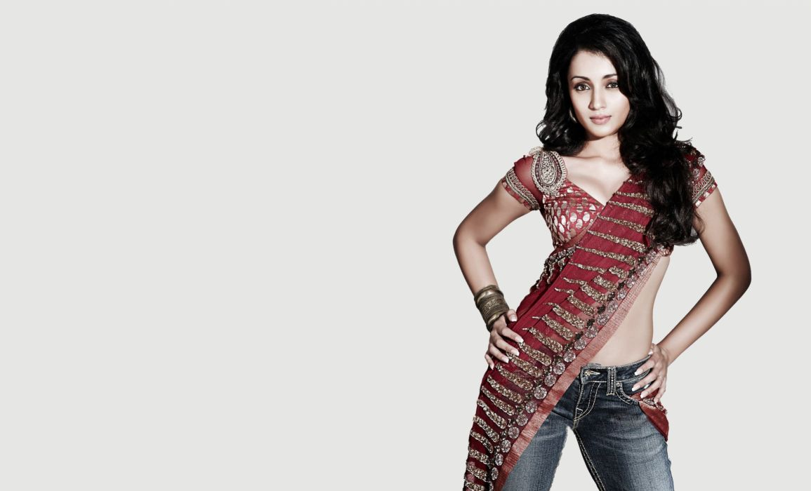 trisha krishnan bollywood actress model girl beautiful brunette pretty cute beauty sexy hot pose face eyes hair lips smile figure indian  wallpaper
