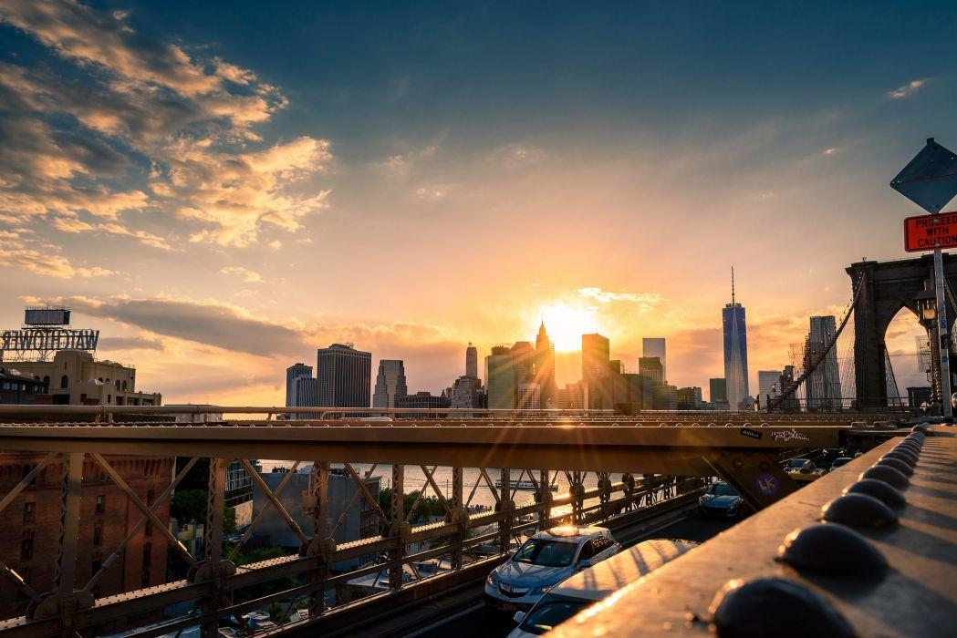 america bridge brooklyn cities City hudson landscape Lights new Night nyc river towers travelling Urban USA York people taxi wallpaper