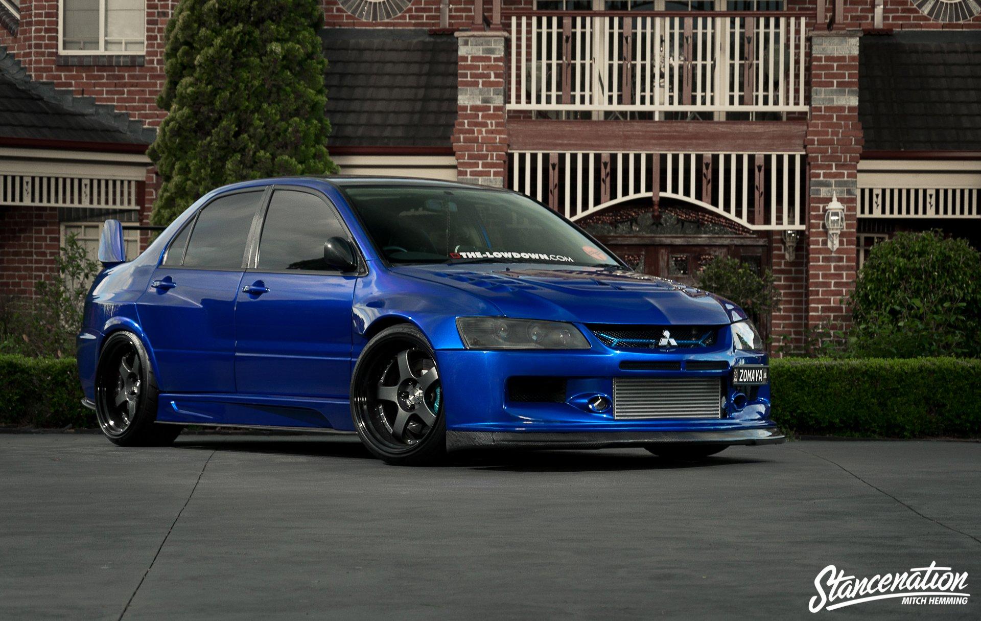 mitsubishi lancer evo ix blue cars sedan modified wallpaper 1920x1215 812915 wallpaperup - Mitsubishi Evo 9 Blue