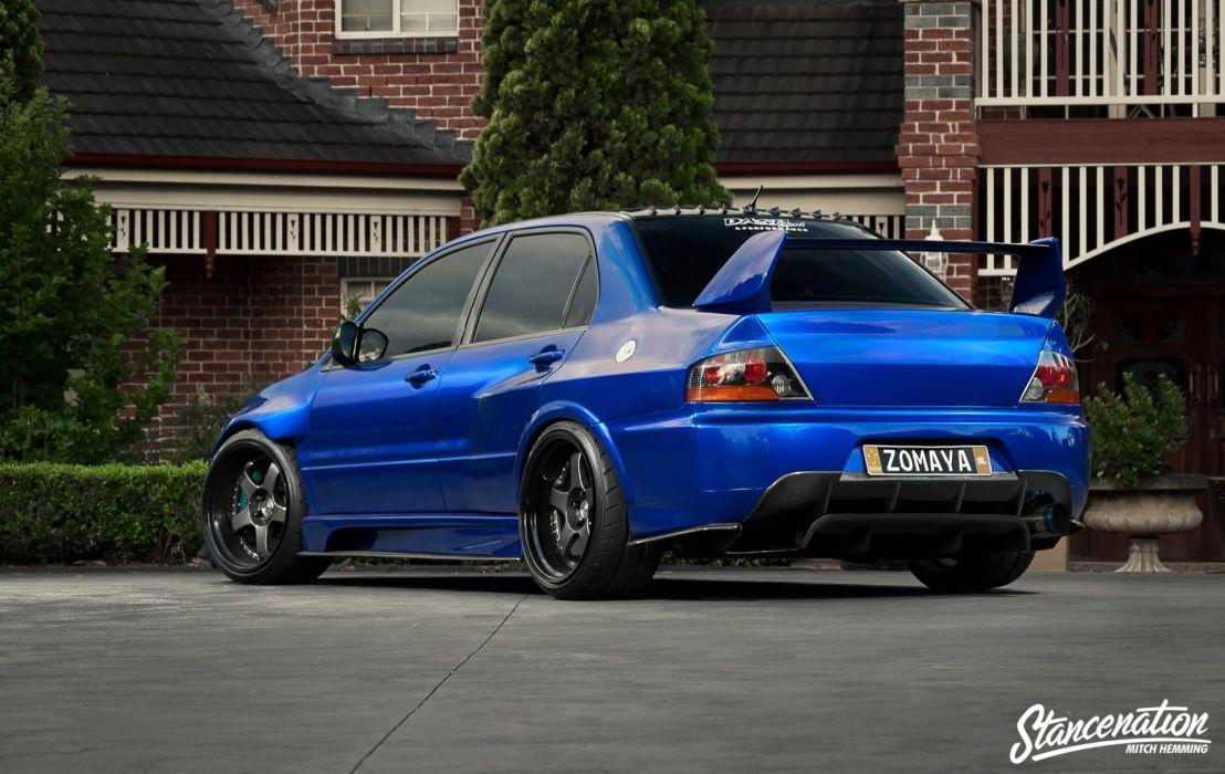 Mitsubishi lancer evo-IX blue cars sedan modified wallpaper