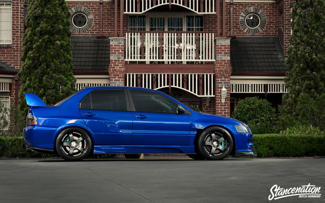 Mitsubishi lancer evo-IX blue cars sedan modified wallpaper