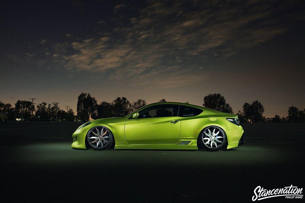 HYUNDAI GENESIS COUPE green cars modified wallpaper