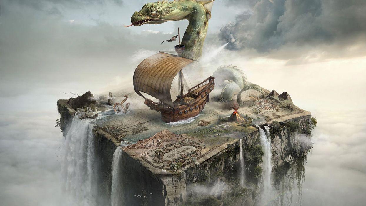 abstracto fantasia barco monstruo fin mundo wallpaper