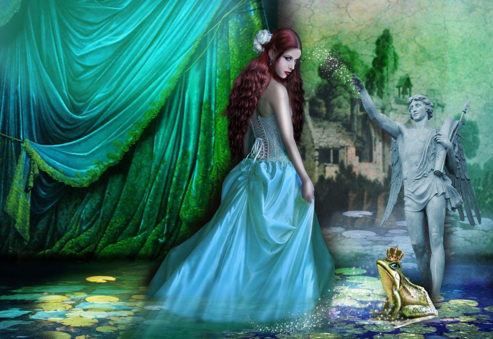abstracto fantasia principe rana princesa wallpaper