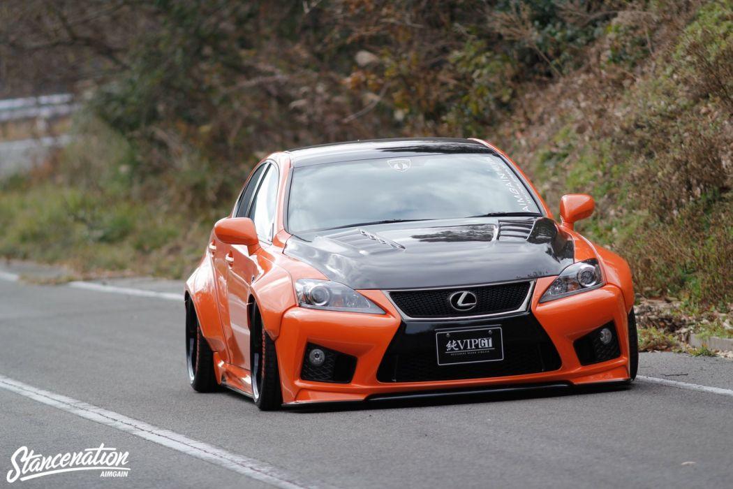 lexus orange IS-F sedan cars modified wallpaper