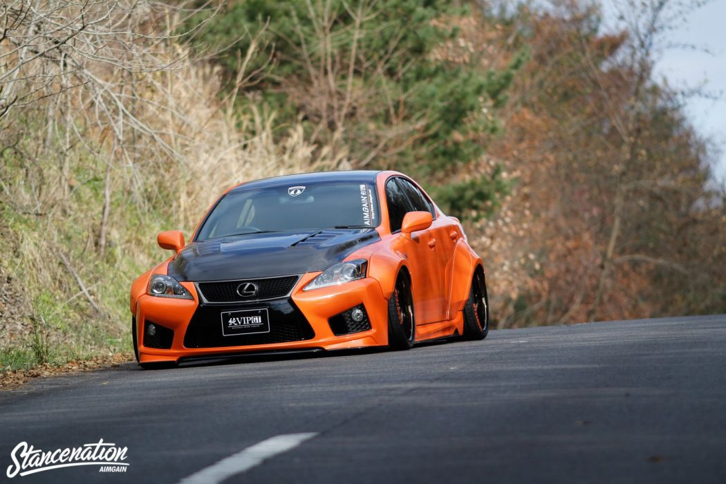 lexus orange IS-F sedan cars modified wallpaper