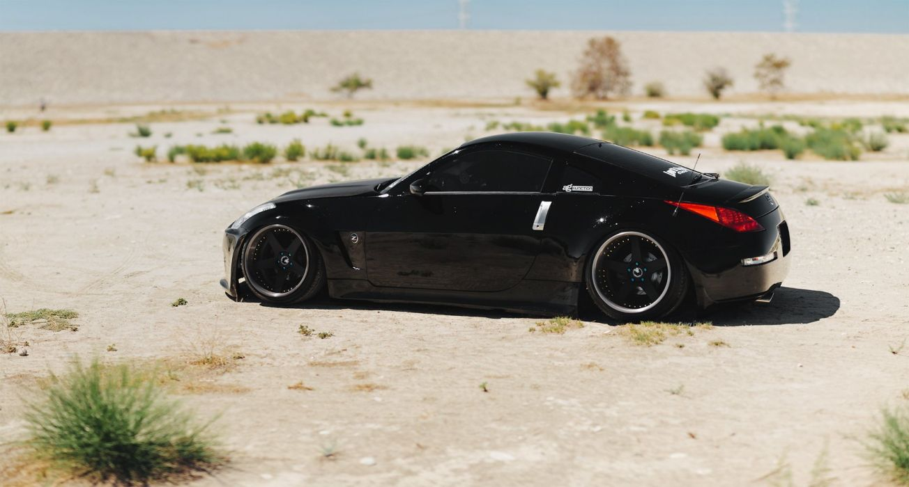 NISSAN 350Z black coupe cars modified wallpaper