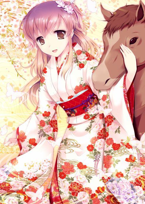 anime girl cute long hair dress horse kimono flower wallpaper