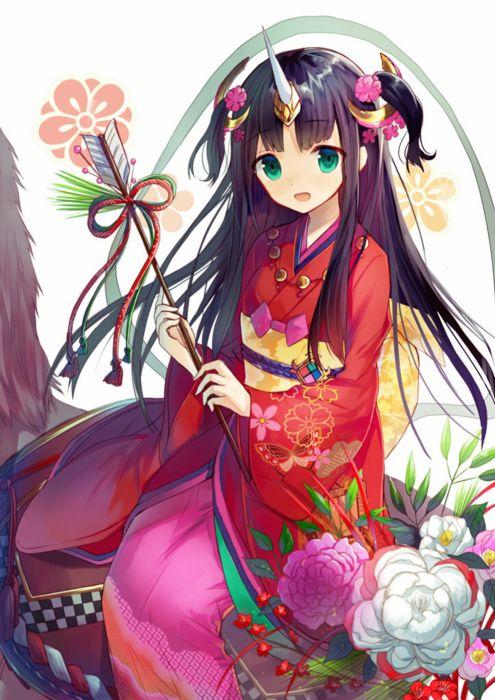 anime girl cute beautiful dress long hair kimono flower wallpaper